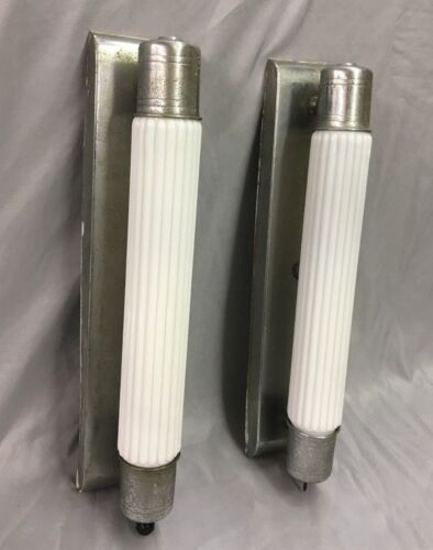 Vtg Chrome Brass Sconce Pair Cylinder Milk Glass Shades Art Deco Light 148-18J