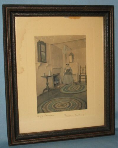 VINTAGE SIGNED WALLACE NUTTING INTERIOR TINTED PICTURE FRAMED 'COZY CORNER'