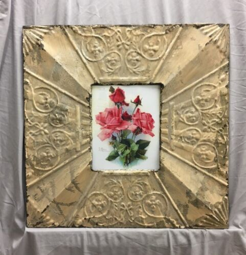 Antique Repurposed TIN CEILING Metal 8X10 Beige Picture Frame Recycled 370-18C