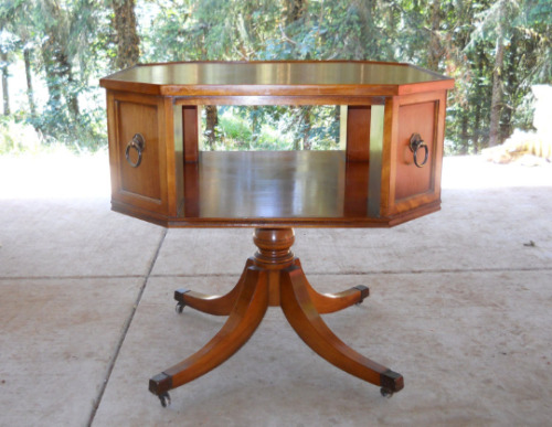 Mid Century Danish Modern Octagon 2 Tier Drum Table French Country Regency