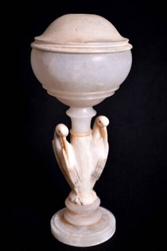 Antique Hand Carved Marble Bird Lamp