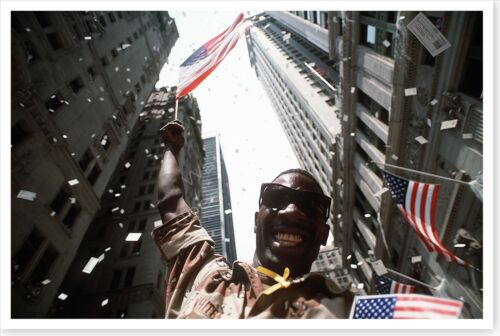 Army Soldier Waving Flag At Desert Storm NYC Welcome Home Parade 8 x 12 PhotoReproductions - 156449