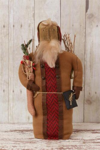 New Primitive Country Folk Art OLD FASHIONED SANTA DOLL WITH STOCKING Twigs 16""