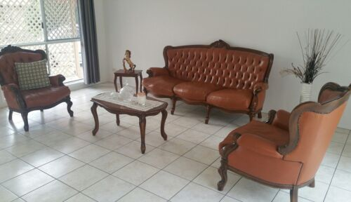 ANTIQUE LOUNGE SUITE SOLID WOOD