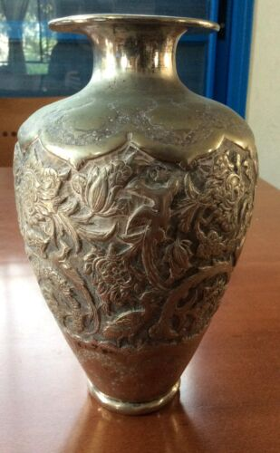 Antique Persian Silver Vase 600gr., Signed, Fine Birds and Flowers work