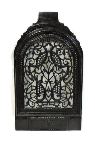 EXQUISITE DESIGN ANTIQUE CAST IRON FIREPLACE COVER VENT VICTORIAN DATED 1861