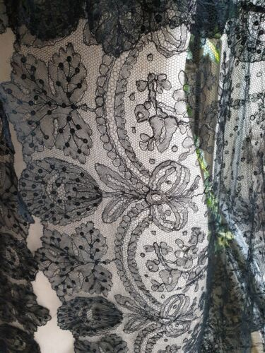 "Another Stunning VICTORIAN CHANTILLY LACE EDGING SEQUINNED 86"" by 9 1/2"""