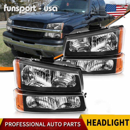 FOR 2003-2006 CHEVY SILVERADO BLACK HOUSING AMBER SIDE HEADLIGHTS/LAMP ASSEMBLY <br/> Amber Corner Light Headlamp Pair Replacement Left+Right