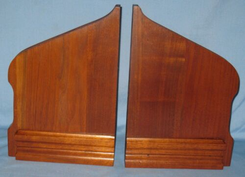 """ANTIQUE PAIR SOLID BURL WALNUT BRACKETS/SUPPORTS FOR WALL SHELF 13 1/4""""H x 9""""W"""
