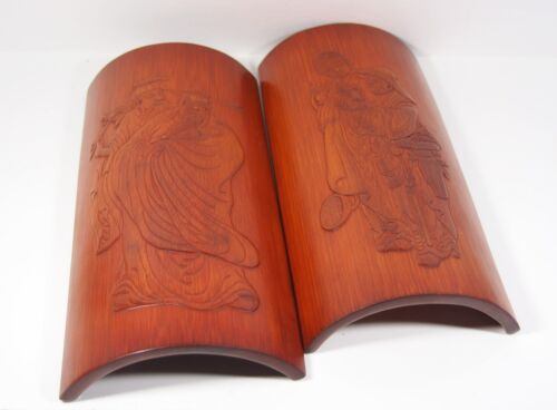 A Pair of Carved Bamboo Wrist Rest