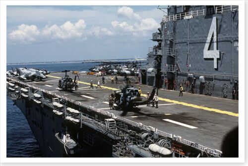 UH-1N Iroquois Helicopters On Flight Deck USS Nassau Desert Shield 8 x 12 PhotoReproductions - 156449
