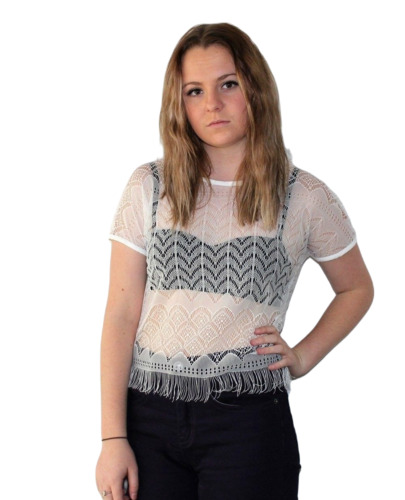 Living Doll - Pinos Gris Lace Fringe Top