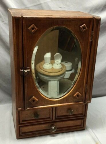 Antique Country Lodge Wood Medicine Cabinet Cupboard Oval Mirror Drawers 100-19C