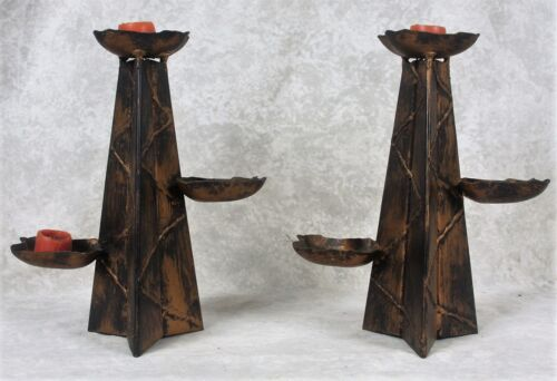 Vintage Brutalist MCM Painted Metal Spanish Revival Candle Holders Candlesticks