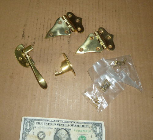 Vintage Brass hinges & Latch for Ice Box,Screws Inc.Old Hardware,Furniture Tools