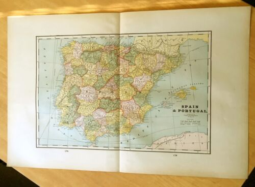 Antique Maps c1895 SPAIN & PORTUGAL 21 1/2 X 14 3/8 + ICELAND & World Religions