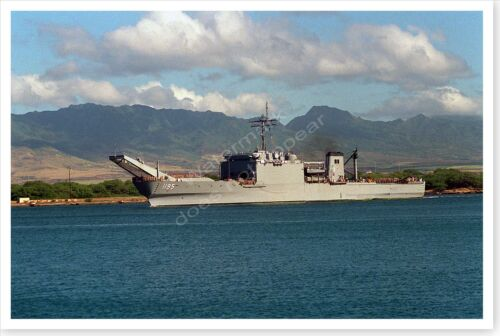 US Navy USS Barbour County Departing Pearl Harbor After Desert Storm 8x12 Photo