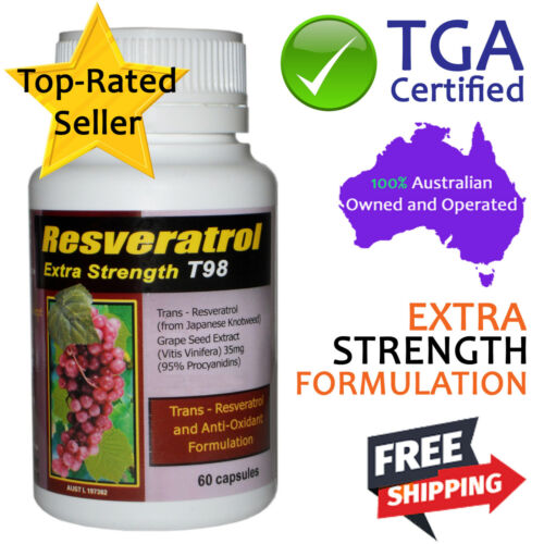 Trans Resveratrol Extra Strength with Grapeseed TGA Certified Antioxidants