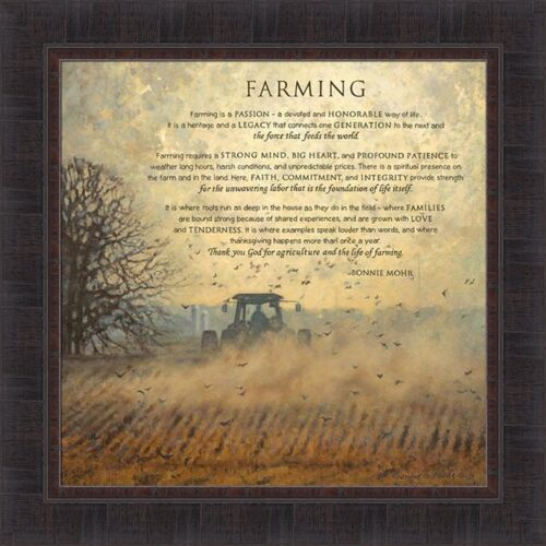 FARMING by Bonnie Mohr 22x22 FRAMED PICTURE WALL ART Farm Tractor Sign Quote
