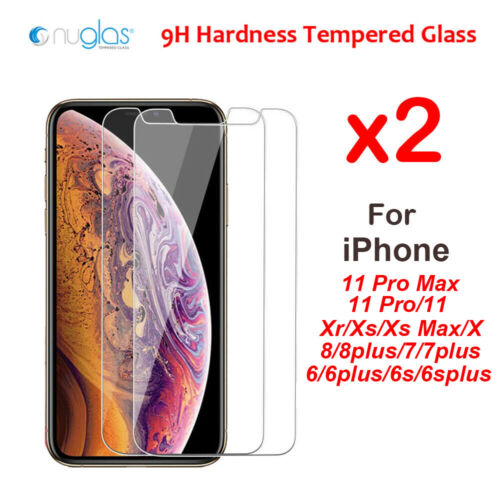 2x Nuglas For iPhone Xr X Xs Max 8/7/6/6s + Tempered Glass Screen Protector  <br/> Top Brand of iPhone Screen Protector on eBay!
