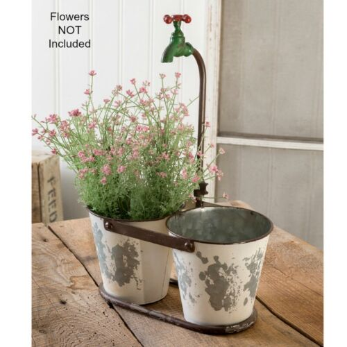 PriMiTiVe Country Bathroom Kitchen Rusty OLD FAUCET PLANTER Utensil Holder Caddy