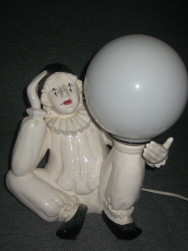 Magnificent authentic Art-Deco porcelain PIERROT Clown lamp table occasional