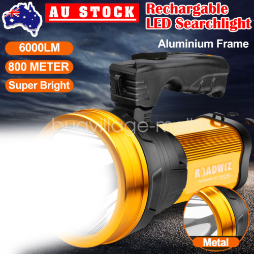 Handheld LED Searchlight Rechargeable Flashlight Torch Camping Hiking Light Lamp