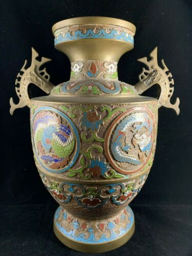 Chinese Antique Brass Vase With Dragon And Phoenix
