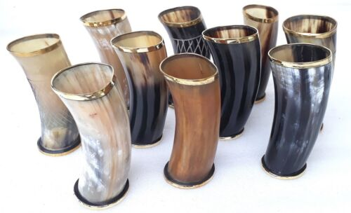 """Lot of 10 Viking Drinking Horn Ale Beer Wine Mead Mug Cups 6"""" for wedding party"""
