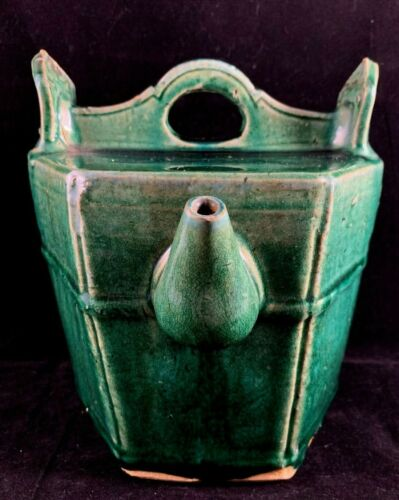 Estate Old House Chinese Antique Green Glazed Porcelain Pottery Teapot
