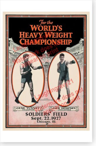 Jack Dempsey Vs. Gene Tunney Soldiers Field Chicago The Long Count Boxing Poster