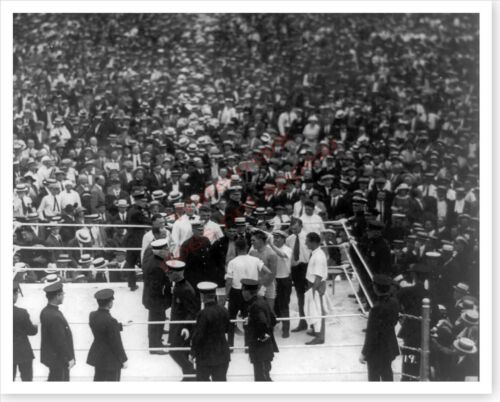 Boxer Jack Dempsey And Geroges Carpentier In Ring 8 x 10 Silver Halide Photo