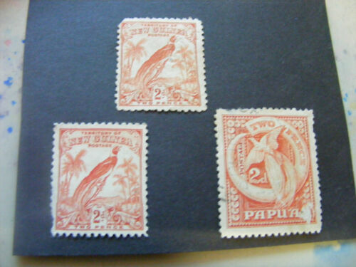 Lot of 3 colonial PNG..one  Papua & 2 x New Guinea stamps with flaws.