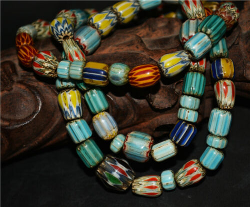 real old antique african trade glass beads chevron necklace mala venetian tibet