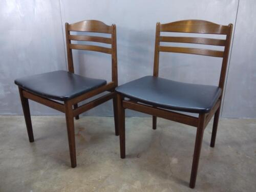 Fantastic Pair Mid Century Danish Modern Bent Wood Chairs DENMARK black vinyl