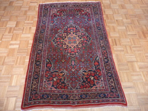 4'2 X 6'10 Hand Knotted Red Antique Very Fine Bijar Oriental Persian Rug G1904