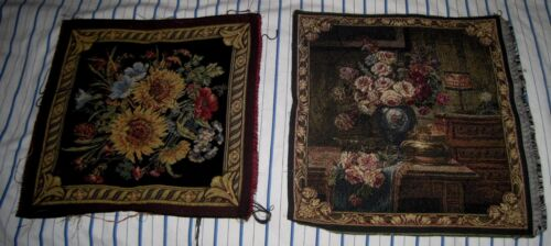 VTG Lot 2 Square Tapestry Vase of Flowers/Floral Made In Italy Pillow/Seat/Chair