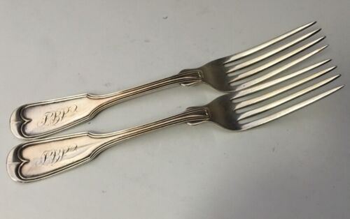 TWO Fiddle Thread 7in. Forks 1870 Sterling Silver - A. Stowell, Baltimore, Md.