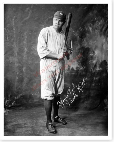 New York Yankees Babe Ruth Silver Halide Photo Inscribed Version 2