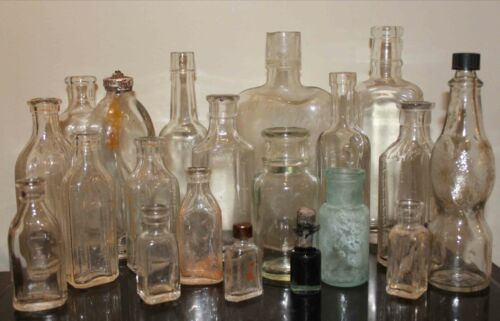 Lot of TWENTY Antique Bottles, 1800s-Early 1900s