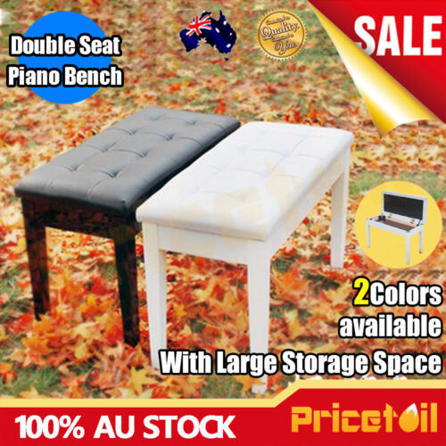 New AU Luxury Double Seat Long Piano Keyboard Bench Stool PU Leather Seat Chair