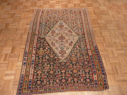 4'2 X 6'2 Hand Knotted Navy Blue Antique Kilim Oriental Rug G1862
