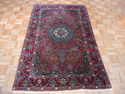 4 X 6'10 Hand Knotted Red Antique Fine Kirman Oriental Rug G1888
