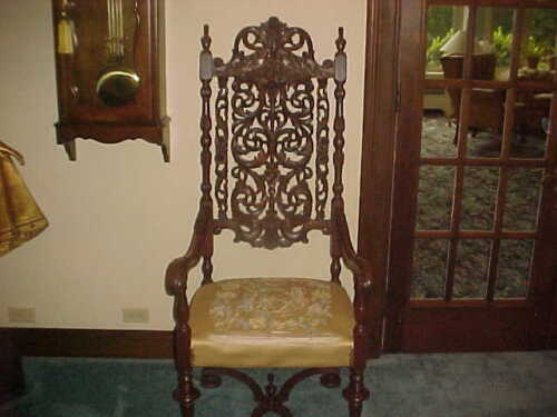 """KING HIGH BACK CHAIR ANTIQUE CARVED 60""""X24""""X24""""DARK WOOD & FABRIC"""