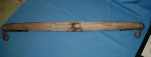 "Antique/VTG OLD 37"" LONG HORSE OX YOKE WOOD/IRON HARNESS Single Tree/Hitch!"