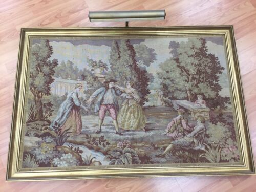 """2'6"""" x 3'8"""" Antique French Tapestry with Frame and Light - 1910s - Hand Made"""