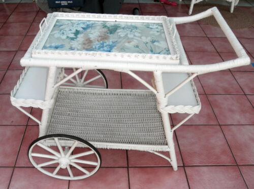 Vintage Wicker Tea Cart w/ Removable Tray