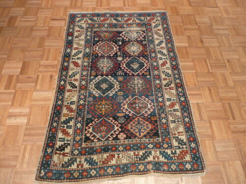 3'6 X 5'6 Hand Knotted Blue Antique Fine Kazak Oriental Rug Vegetable Dyes G1933