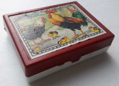 Antique Wood Block Puzzle - 6 farm animal Scenes - Original Box