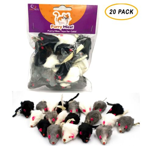 20 Furry Mice with Catnip & Rattle Sound Made of Real Rabbit Fur Cat Toy Mouse